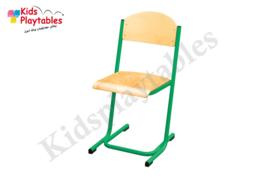 Groene Stapelbare Leerlingstoel met stalen poten U frame
