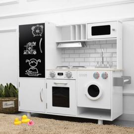 Houten Kinderkeuken wit Anouck- Speelkeuken - Grote houten Keukenset - Kinder Speelgoed Keuken - Compleet -kinderkeukentje - kinderkeuken met accessoires set