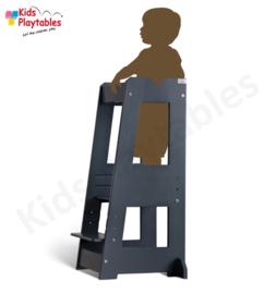 Leertoren Montessori  kleur Grijs| Learning tower |  Ontdekkingstoren | Opstapje hout | Keukenhulp | Keukentoren