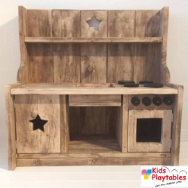 Kinderkeuken Speelgoed keuken | Steigerhout kinderkeuken gerookte uitvoering