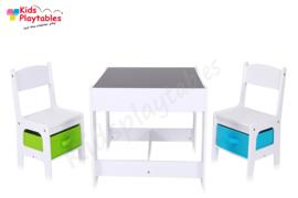 Kindertafel en stoeltjes met krijtbord - Kindertafel met stoeltjes van hout - kleur wit - kindertafel met opbergruimte - Kleurtafel - speeltafel / knutseltafel / tekentafel / zitgroep set - kinderzetel - stoel kind