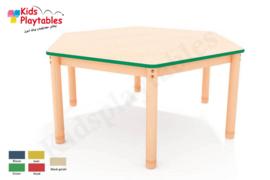 Zeshoekige groepstafel 138 cm doorsnede met verstelbare poten in 5 kleuren