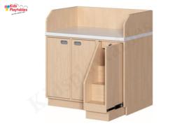 Aankleedtafel Commode kinderopvang 107 cm breed met trap en 2 deurtjes