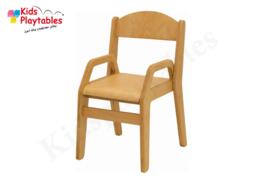 Houten Stapelbare HPL stoel met armleuningen , stapelstoel, kinderstoeltje Tamara klassiek 4 | kinderopvang en BSO
