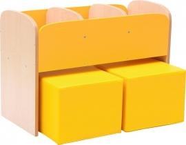 Kinderpoefjes Lederlook Geel set van 2x stuks