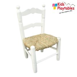 Houten Rieten Kinderstoeltje voor Kinderen Sophie met biezen zitting wit