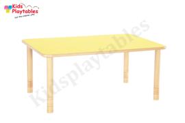 Rechthoekige groepstafel kinderopvang met HPL blad en in hoogte verstelbare houten poten 120 x 80 cm