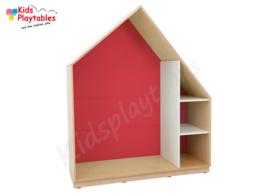 Kastenwand speelhuis met terugtrekruimte rood
