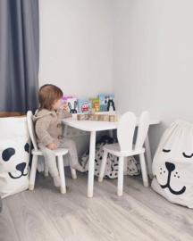 Vierkante Kindertafel met 2x Konijnenoren stoeltje - 1 tafel en 2 stoelen voor kinderen - kleur wit - Kleurtafel / speeltafel / knutseltafel / tekentafel / zitgroep set / kinder speeltafel - kinderzetel - stoel kind