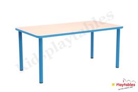 Rechthoekige tafel met metalen poten voor de kinderopvang 115 x 65 cm in div kleuren en hoogtes