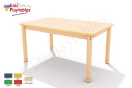 Rechthoekige groepstafel 120 x 75 cm met houten verstelbare poten in 5 kleuren