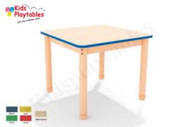 Vierkante groepstafel 75 x 75 cm met houten verstelbare poten in 5 kleuren