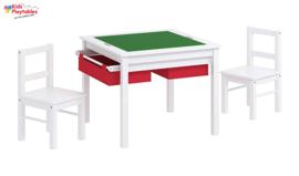 Speeltafel Vierkant geschikt voor LEGO® met 2x stoeltjes - Kindertafel met veel opbergruimte voor speelblokken