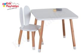 Vierkante Kindertafel en 1x Konijnenoren stoeltje - 1 tafel en 1 stoel voor kinderen - kleur wit - Kleurtafel / speeltafel / knutseltafel / tekentafel / zitgroep set / kinder speeltafel - kinderzetel - stoel kind
