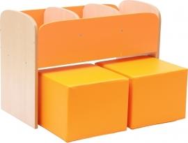 Kinderpoefjes Lederlook Oranje set van 2 stuks
