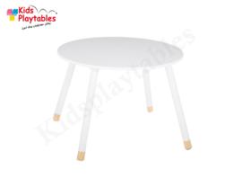 Kindertafel rond kleur wit- Speeltafel Rond - houten Kindertafel - Kleurtafel / activiteitentafel/ knutseltafel / tekentafel - kinderzetel - kinderstoel - kindertafel en stoeltjes