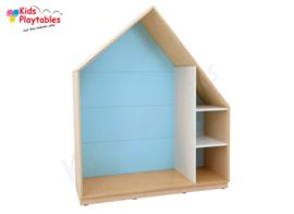 Kastenwand speelhuis met terugtrekruimte lichtblauw