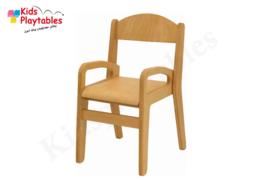 Houten Stapelbare HPL stoel met armleuningen , stapelstoel, kinderstoeltje Tamara klassiek 3 | kinderopvang en BSO