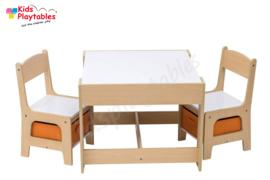 Kindertafel en stoeltjes met krijtbord - Kindertafel met stoeltjes van hout - wit/oranje hout - kindertafel met opbergruimte - Kleurtafel - speeltafel / knutseltafel / tekentafel /kinderzetel