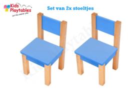 Set Kinderstoeltje 2x hout kleur blauw| zithoogte 28 cm | kinderzetel | Houten stoeltje voor kinderen | stoel kind | Peuterstoeltje