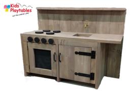 Kinderkeuken Speelgoed keuken 120 cm breed | Steigerhout kinderkeuken geloogd steigerhout