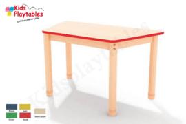 Trapezium groepstafel 120 x 63 cm met houten verstelbare poten in 5 kleuren