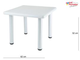 Vierkante Kunststof Kindertafel met 2x kinderstoeltjes - kleur Lichtgrijs - Plastic tafel - Kleurtafel / speeltafel / knutseltafel / tekentafel / kunstof tafel - zitgroep set / kinder speeltafel - kinderzetel - stoel kind