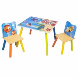 Kindertafel set met 2 houten stoeltjes Vis motief