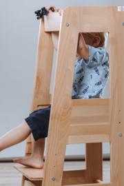 Leertoren Montessori  kleur blanke lak | Learning tower |  Ontdekkingstoren | Opstapje hout | Keukenhulp | Keukentoren