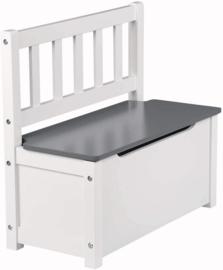 Houten kinderbank met opbergruimte - Speelgoedkist wit