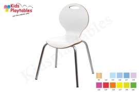 Houten Stapelbare HPL stoel , stapelstoel, kinderstoeltje Luna met metalen poten | kinderopvang en BSO