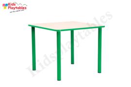 Vierkante kindertafel met metalen poten voor de kinderopvang 65 x 65 cm in div hoogtes en kleuren