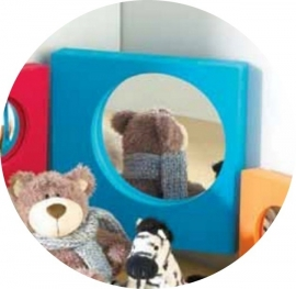 Vlakke Spiegel voor snoezelruimte Vierkant Blauw