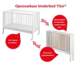 Inklapbaar babybed hout kleur Wit   Inklapbaar houten ledikantje   peuterbed   kinderbed opvouwbaar   ledikant   Vouwbed   inklapbare kinderbed