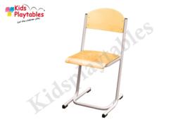 Zilverkleurige Stapelbare Leerlingstoel met stalen poten U frame
