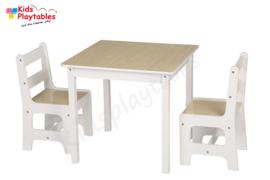 Vierkante Kindertafel en stoeltjes van hout - 1 tafel en 2 stoelen voor kinderen - Wit met bruin - Kleurtafel / speeltafel / knutseltafel / tekentafel / zitgroep set / kinder speeltafel - kinderzetel - stoel kind