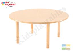 Ronde tafel kinderopvang met HPL blad diameter 120 cm met in hoogte verstelbare houten poten