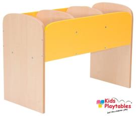 Lage boekenkast voor kinderen in de kleur Geel