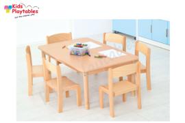 Set Rechthoekige tafel in hoogte verstelbare poten en 6 houten stoelen voor de kinderopvang