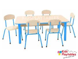 Rechthoekige kindertafel groepstafel set met 6 stoelen