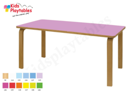Rechthoekige groepstafel 120 x 60 cm met houten poten en beuken blad in div hoogtes en kleuren