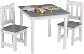 Kindertafel en stoeltjes in de kleur Grijs/Wit