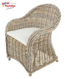 Rotan rieten kinderstoel grijs / grey| kinder-fauteuil