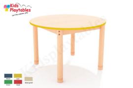 Ronde groepstafel doorsnede 90 cm met houten verstelbare poten in 5 kleuren