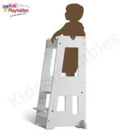 Leertoren Montessori  kleur Wit | Learning tower |  Ontdekkingstoren | Opstapje hout | Keukenhulp | Keukentoren