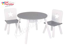 Ronde Kindertafel en stoeltjes van hout - 1 tafel en 2 stoelen voor kinderen - kleur grijs/wit - Kleurtafel / speeltafel / knutseltafel / tekentafel / zitgroep set / kinder speeltafel - kinderzetel - stoel kind