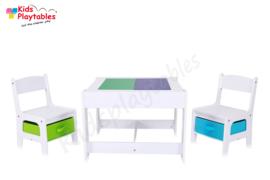 Speeltafel Vierkant geschikt voor LEGO® - Kindertafel en stoeltjes - Kleurtafel / activiteitentafel/ knutseltafel / tekentafel, tafel met bouwplaten-grondplaat geschikt voor LEGO® , kinderzetel - stoel kind - houten kindertafel