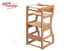 Leertoren Montessori 2 in 1 | kleur blanke lak | Learning tower | Kinderstoel | Ontdekkingstoren | Opstapje hout | Keukenhulp | Keukentoren | Kinderzetel