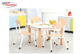 Vierkante Kindertafel en stoeltjes wit 60 x 60 cm