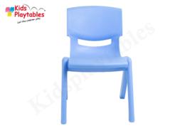 Kunststof Kinderstoeltje blauw- zithoogte 25 cm - stapelstoel - schoolstoel -plastic stoel- kinderzetel - stoel kind - Peuterstoel - stapelbaar - kindertafel en stoeltjes van kunststof- plastic stoeltje voor peuters